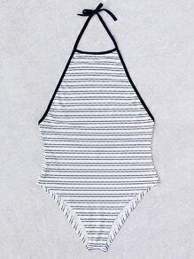Striped Detail Halter One-Piece Swimwear