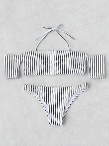 Vertical Striped Off The Shoulder Bikini Set
