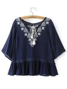 Dark Blue Embroidery Lace Up V Neck Blouse With Fringe
