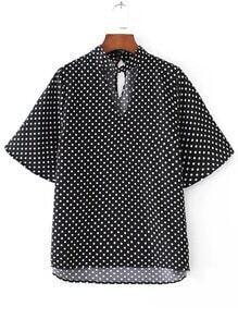 Polka Dot Cut Out Neck High Low Blouse