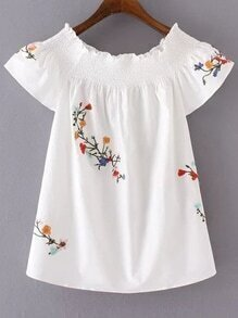 Flower Embroidered Boat Neck Blouse