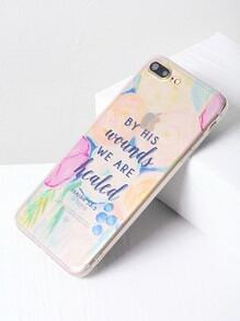 Letter Print Clear iPhone 7 Plus Case