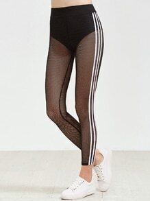 Leggings Gitterseitenstreifen - schwarz