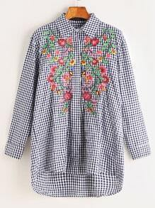 Embroidered Gingham Dip Hem Shirt