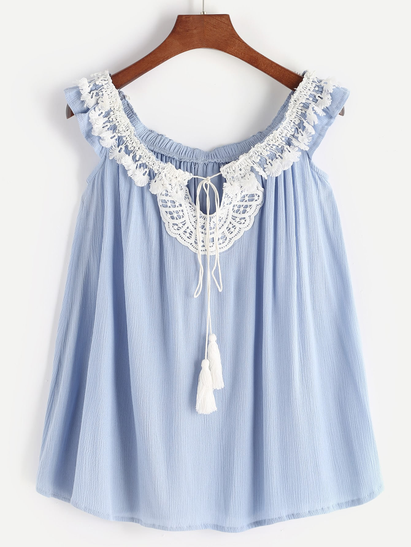 Lace Insert Lace Up Sleeveless Top