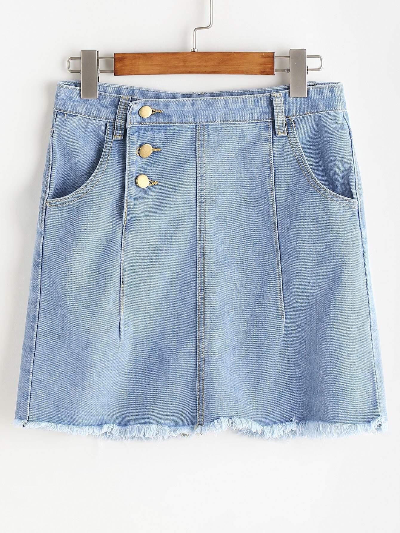 Single Breasted Side Distressed Frayed Hem Denim Skirt