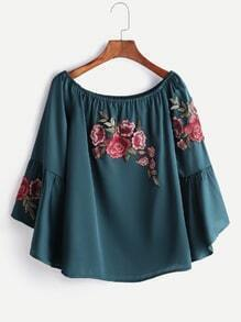 Boat Neck Fluted Sleeve Rose Embroidery Blouse