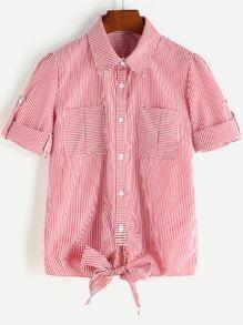 Blusa a rayas delgadas de manga doblez con diseño de corbata de moño