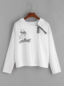 Hooded Letter Print Side Zip Sweatshirt