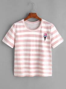 Buy Ice Cream Print Striped Tee