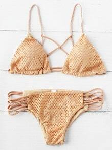 Sets de bikini con abertura y cordón en forma de trenza