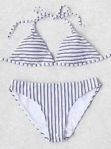 Striped Print Triangle Bikini Set