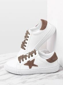 Contraste Star Pattern Lace Up Sneakers