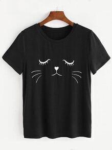 Camiseta de manga corta con estampado de gato - negro