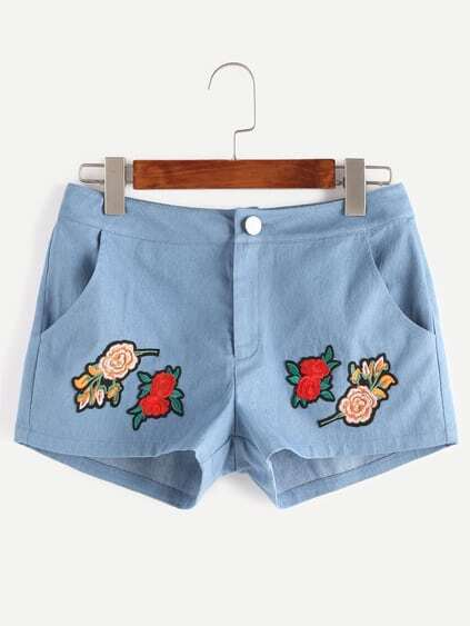 Blue Flower Patch Denim Shorts