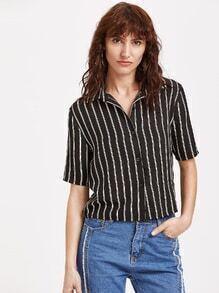 À manches courtes blouse rayée - noir