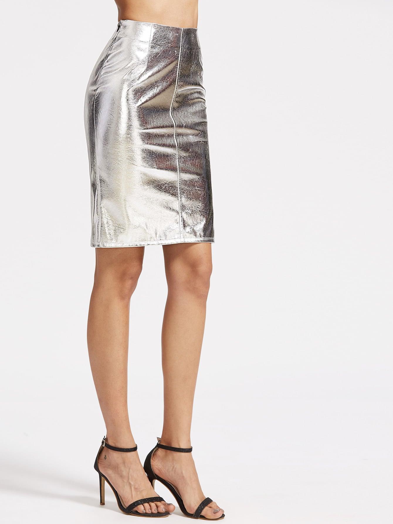 Metallic Silver Faux Suede Zip Side Pencil Skirt