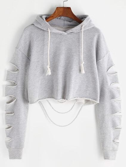 Heather Grey Drop Shoulder Ripped Sleeve Crop Hoodie