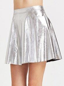 Falda de cuero sintético con vuelo - plateado metálico