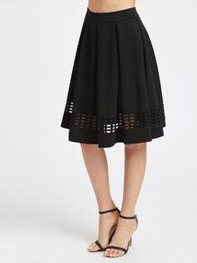Faible jupe plissée avec ouverture - noir