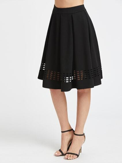 Black Laser Cutout Hem Box Pleated Skirt