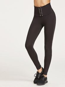 Black Lace Up Wide Waistband Leggings