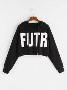Gefallene kurzen Schulter-Sweatshirt mit Druckbuchstaben - schwarz