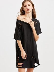 Black Ripped Raw Hem Oversized Tee Dress