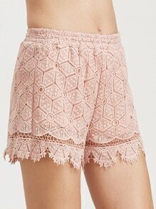 Buy Pink Scallop Hem Hollow Embroidered Lace Shorts