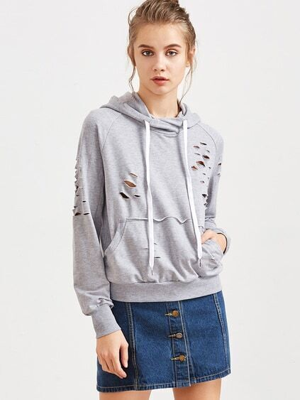 Heather Grey Raglan Sleeve Distressed Hoodie