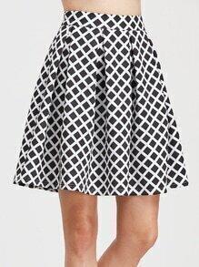 Falda de cuadrícula plisada - negro