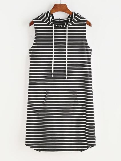 Black And White Striped Pocket Front Sleeveless Hoodie Dress