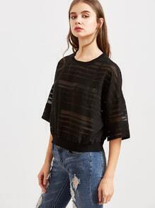 Black Drop Shoulder Half Sleeve Striped Mesh Top