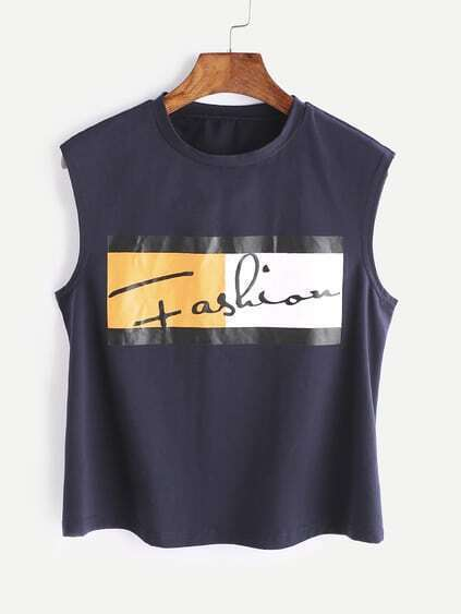 Navy Graphic Print Tank Top