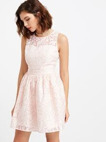 Pink Flower Print Semi Sheer Sweetheart Neck Sleeveless Dress
