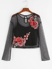 Black Embroidered Rose Applique Dotted Mesh Top With Cami