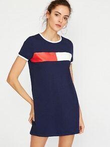 Navy Contrast Trim Printed Short Sleeve Tee Dress