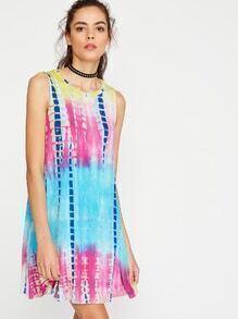 Vestido con estampado teñido anudado sin mangas - multicolor