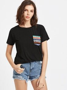 Black Tribal Print Front Pocket Short Sleeve T-shirt