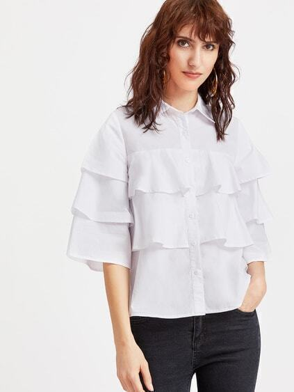 White 3/4 Sleeve Layered Ruffle Blouse