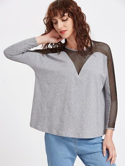Heather Grey Contrast Fishnet Panel Long Sleeve T-shirt