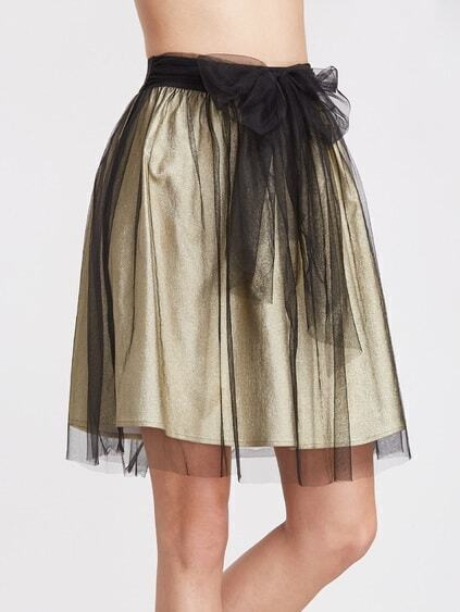 Yellow Contrast Mesh Overlay Belted Skirt