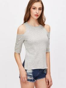 Heather Grey Open Shoulder Ripped Sleeve Side Slit T-shirt