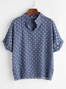 Stand Collar Texture Dots Print Blouse
