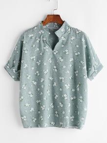 Blusa estampada de flores de cuello mao
