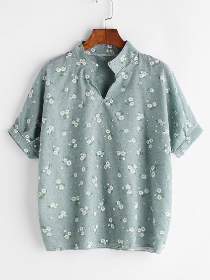 Stand Collar Calico Print Blouse