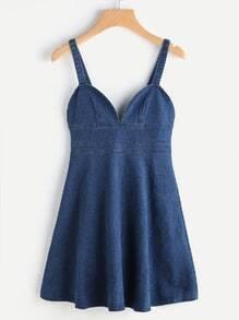 Zip Back A Line Denim Cami Dress