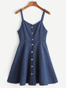 Single Breasted A Line Denim Cami Dress