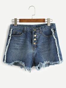 Shorts irregular rotos con una fila de botones