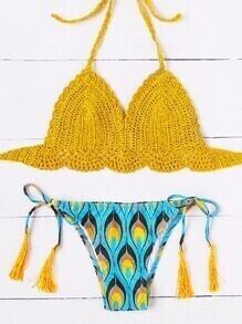 Sets de bikini de croché con cordón de fleco y estampado de pluma